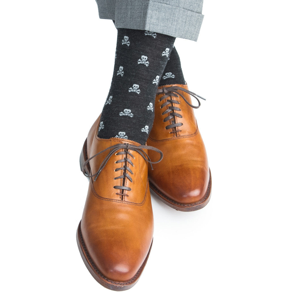 Charcoal with Ash Skull and Crossbone Sock Fine Merino Wool Linked Toe OTC - over-the-calf - dapper-classics