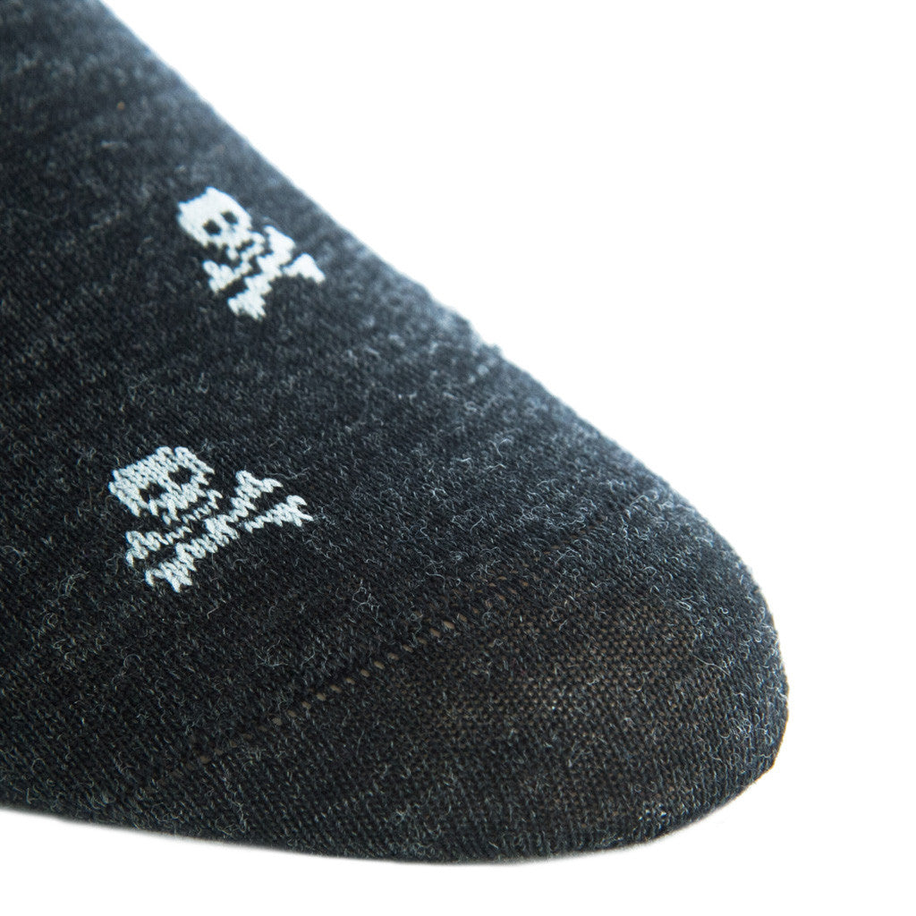Charcoal with Ash Skull and Crossbone Sock Fine Merino Wool Linked Toe Mid Calf - mid-calf - dapper-classics