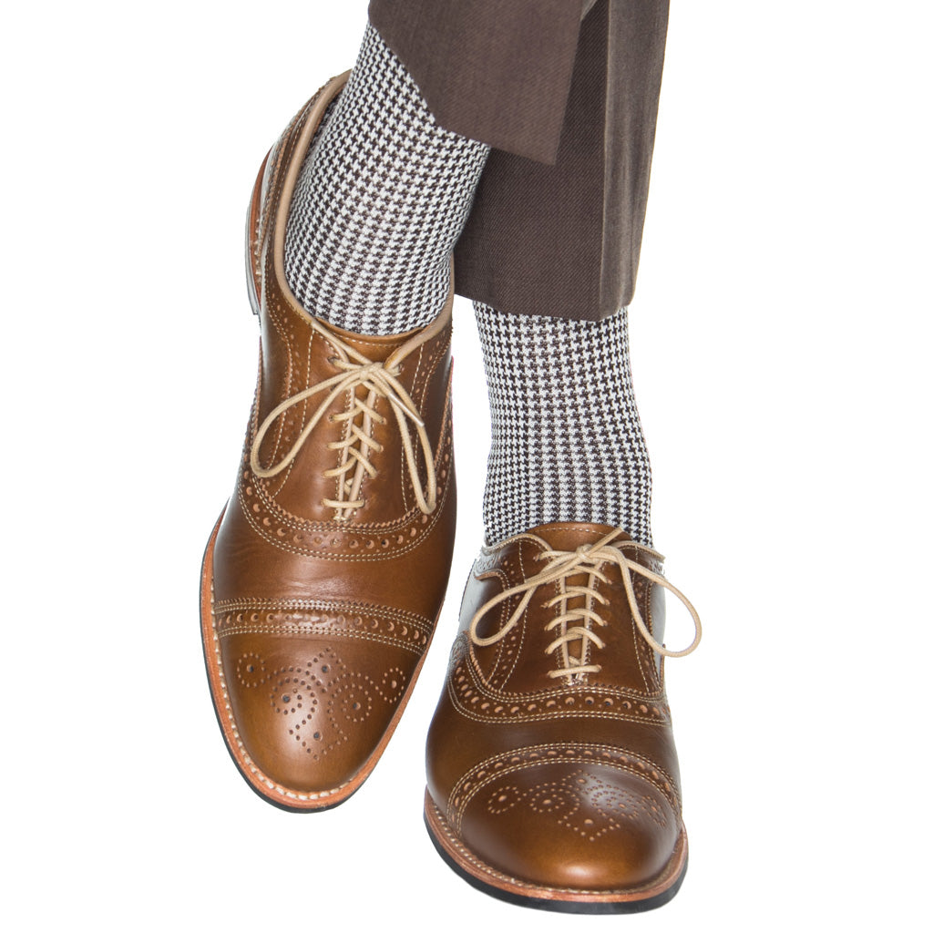 Coffee Brown with Cream Houndstooth Cotton