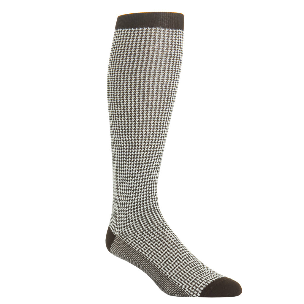 Over-the-calf coffee brown and cream houndstooth