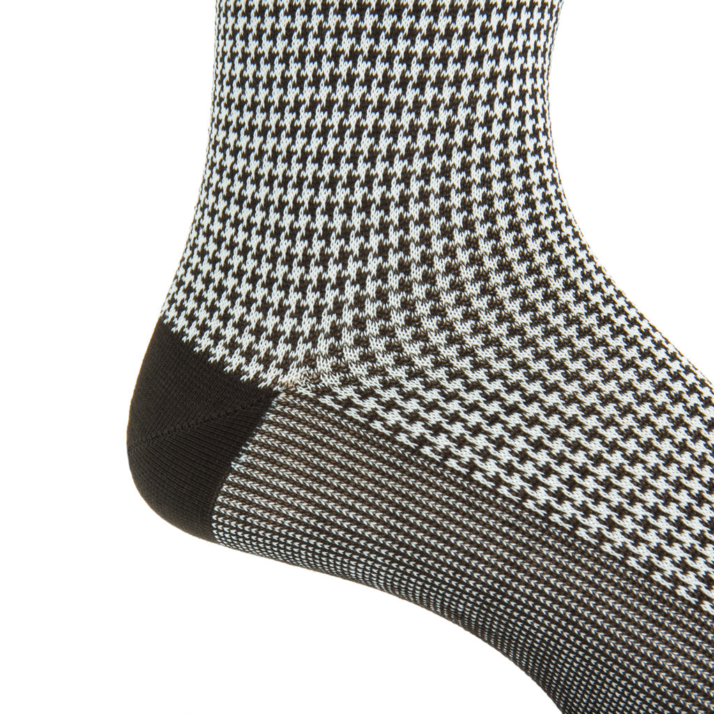 mid-calf coffee brown and cream houndstooth