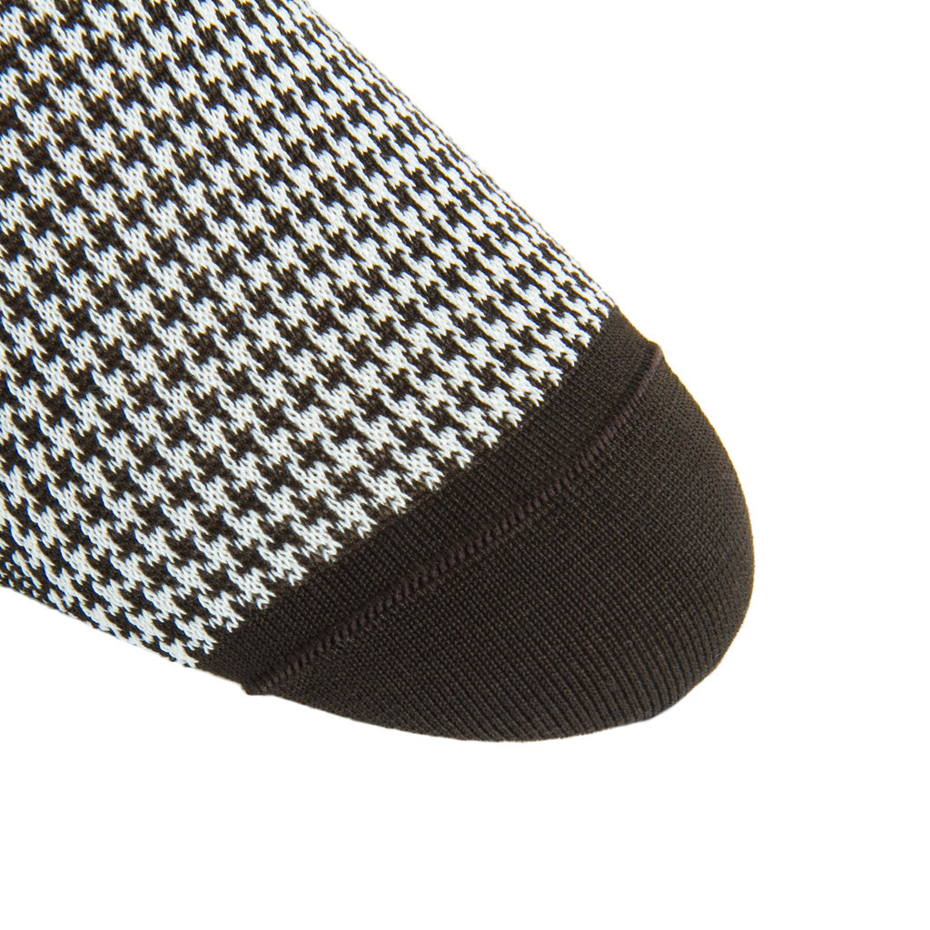 linked-toe Coffee Brown with Cream Houndstooth