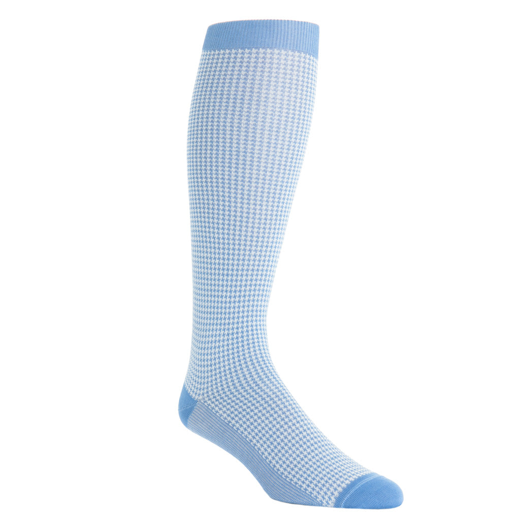 over-the-calf azure blue with cream houndstooth