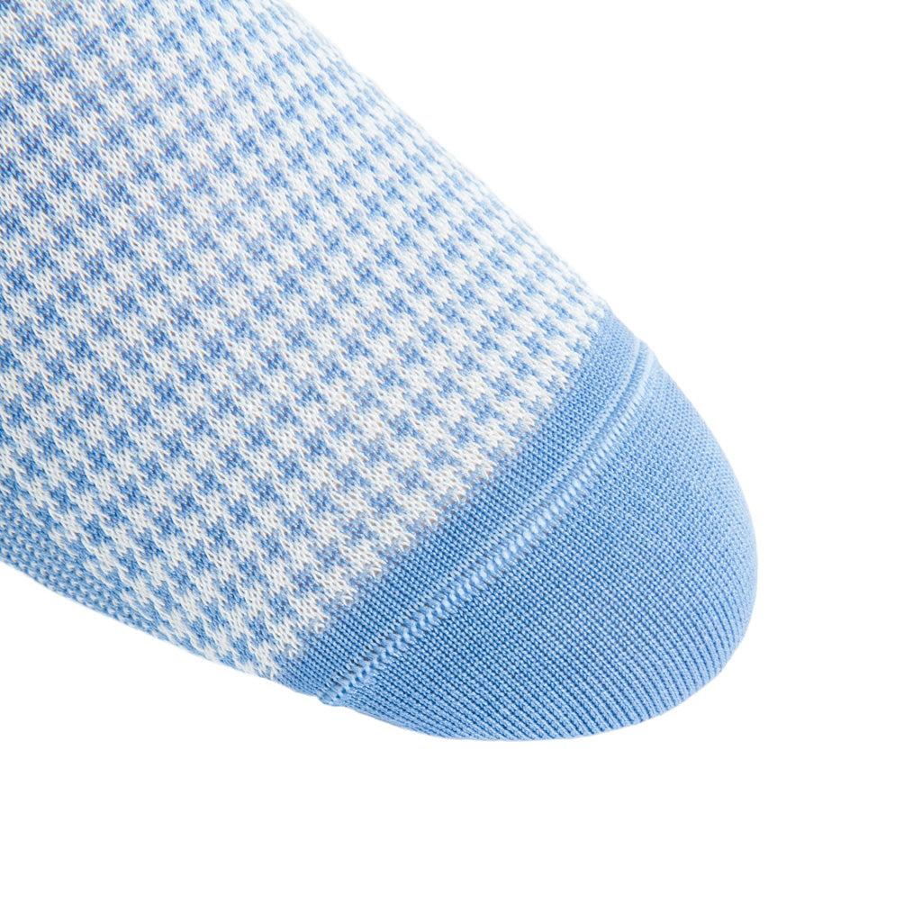 linked-toe azure blue with cream houndstooth