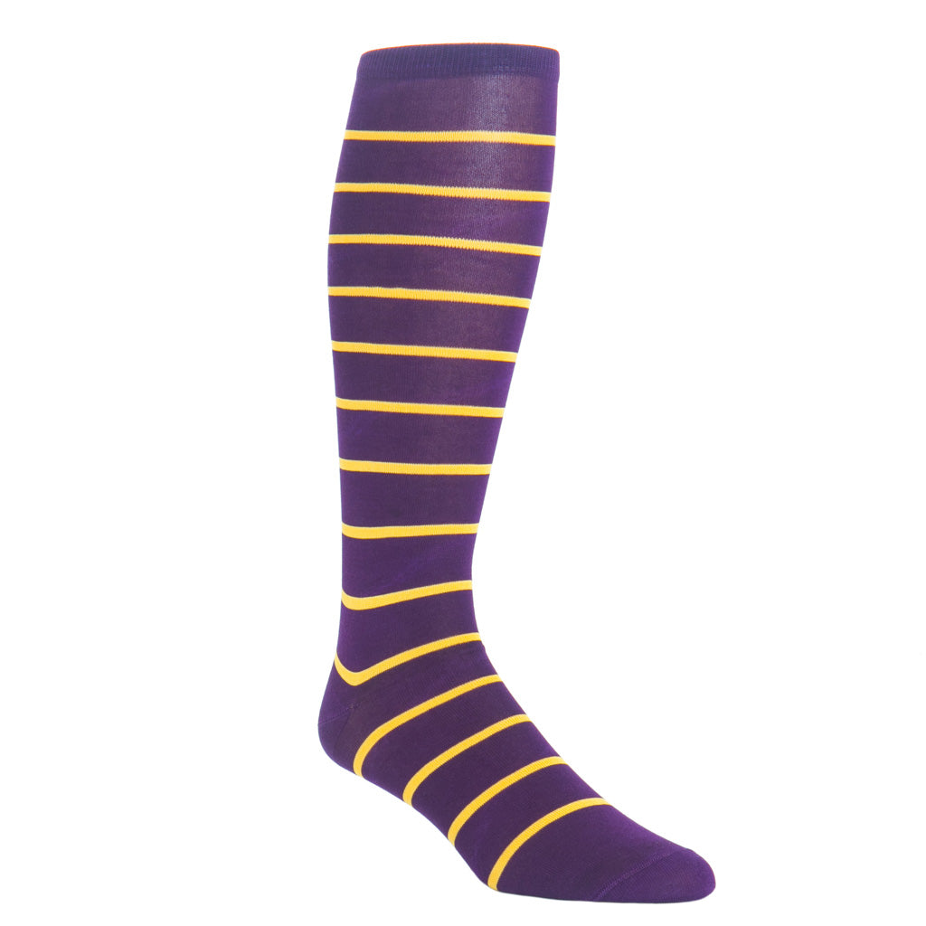 over-the-calf royal purple and yolk stripe