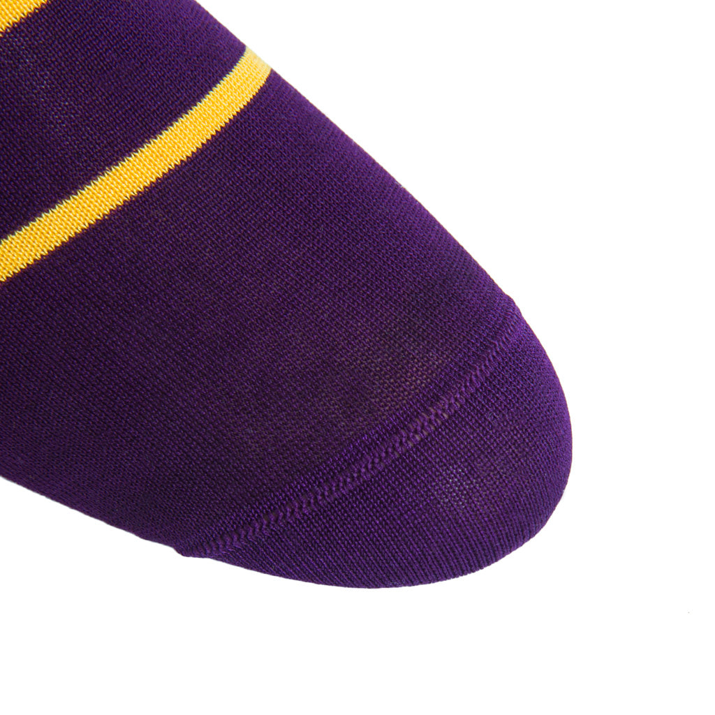 linked-toe Royal Purple and Yolk Stripe Cotton