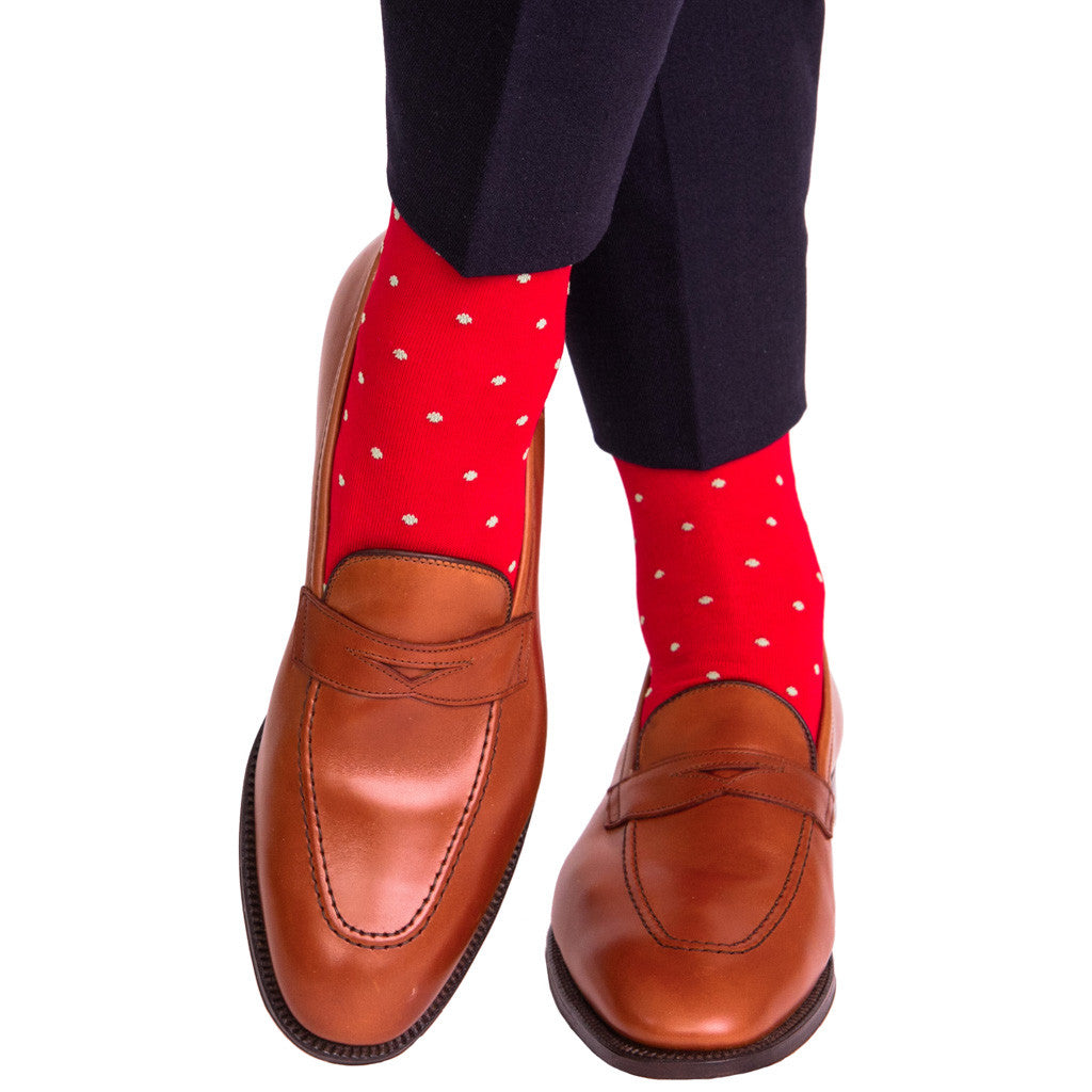 Red with Green Dot Socks Linked Toe OTC - over-the-calf - dapper-classics