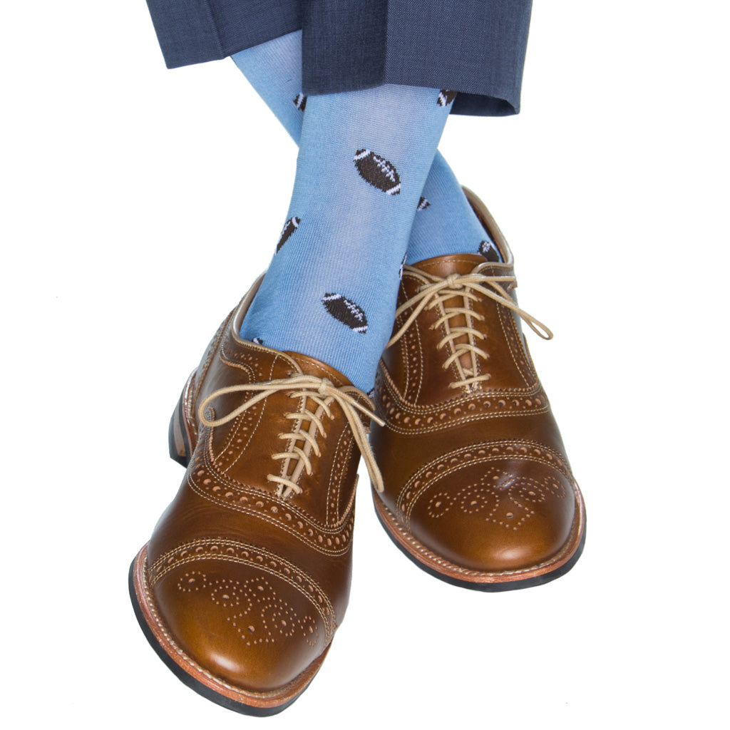 Azure Blue with Brown Football Sock
