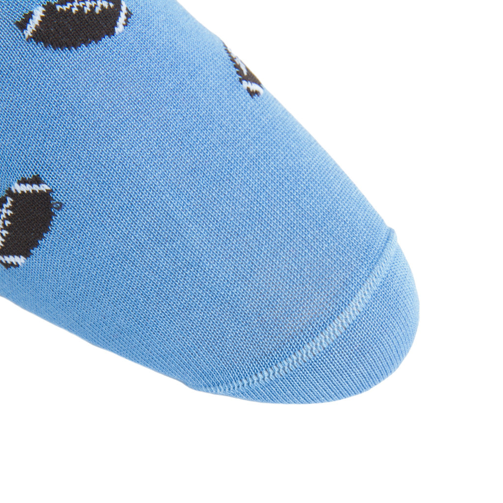 linked-toe Azure Blue with Brown Football Cotton Sock