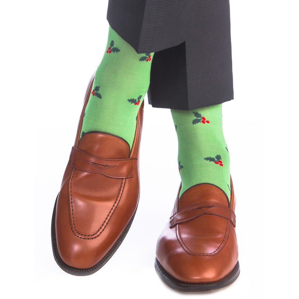 Green Grass with Red Holly Berry Sock Linked Toe OTC - over-the-calf - dapper-classics