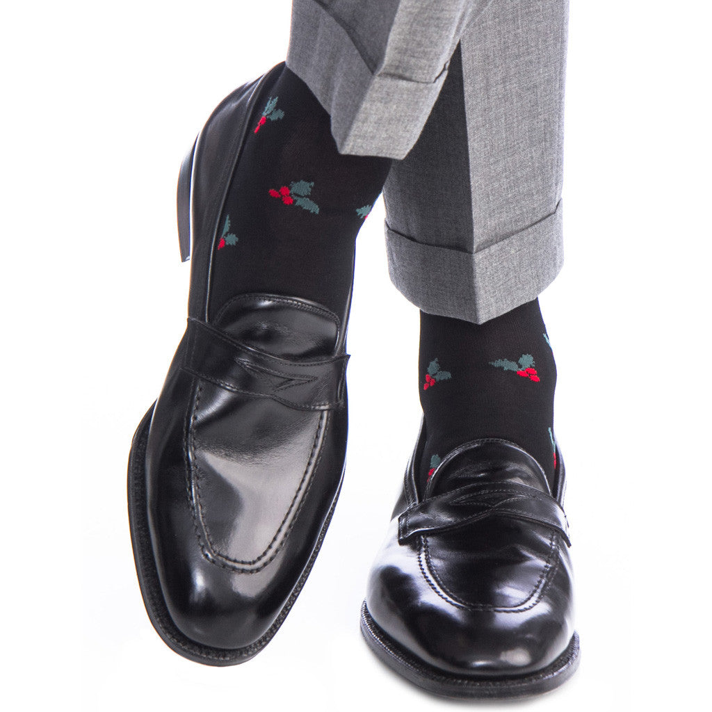 Black with Red Berry and Green Holly Cotton Sock Linked Toe Over-The-Calf - over-the-calf - dapper-classics