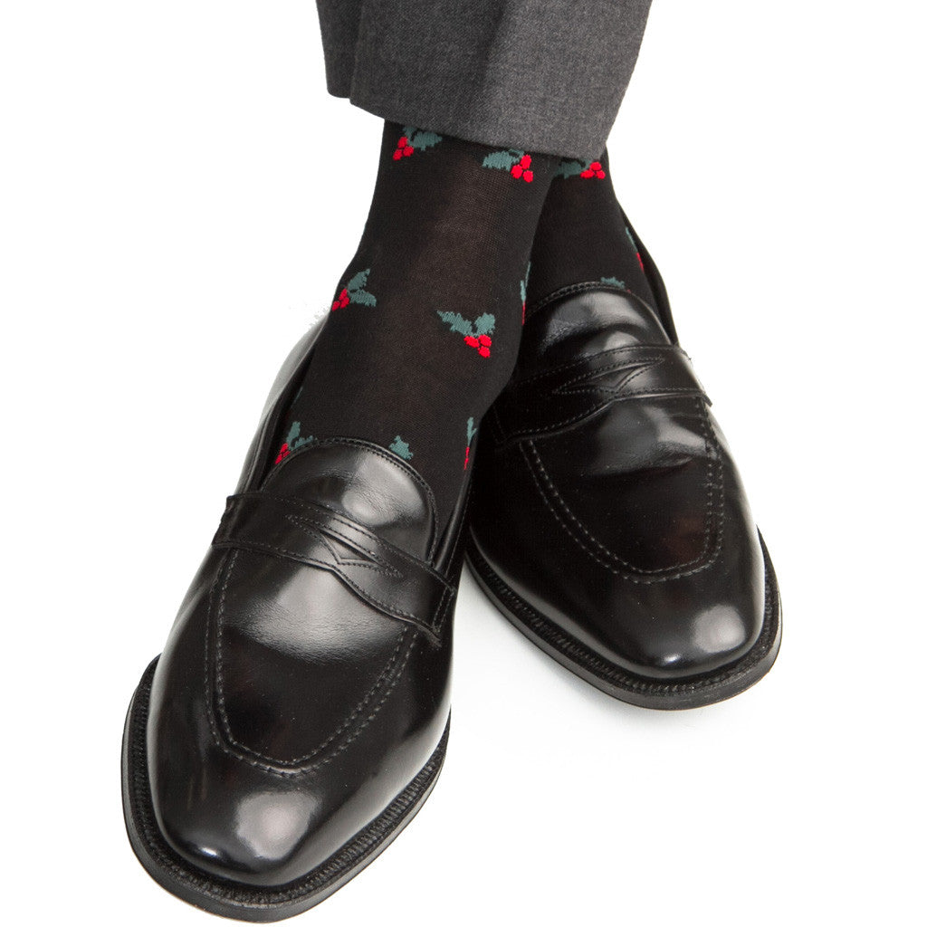 Black, Red and Green Holly Cotton Linked Toe Mid-Calf - mid-calf - dapper-classics