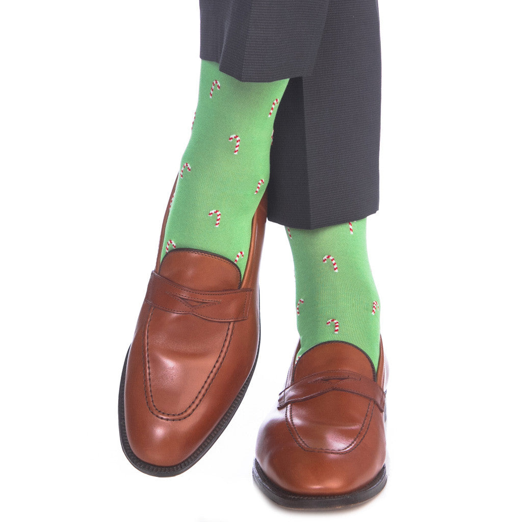 Green with Red and White Candy Cane Sock Linked Toe OTC - over-the-calf - dapper-classics