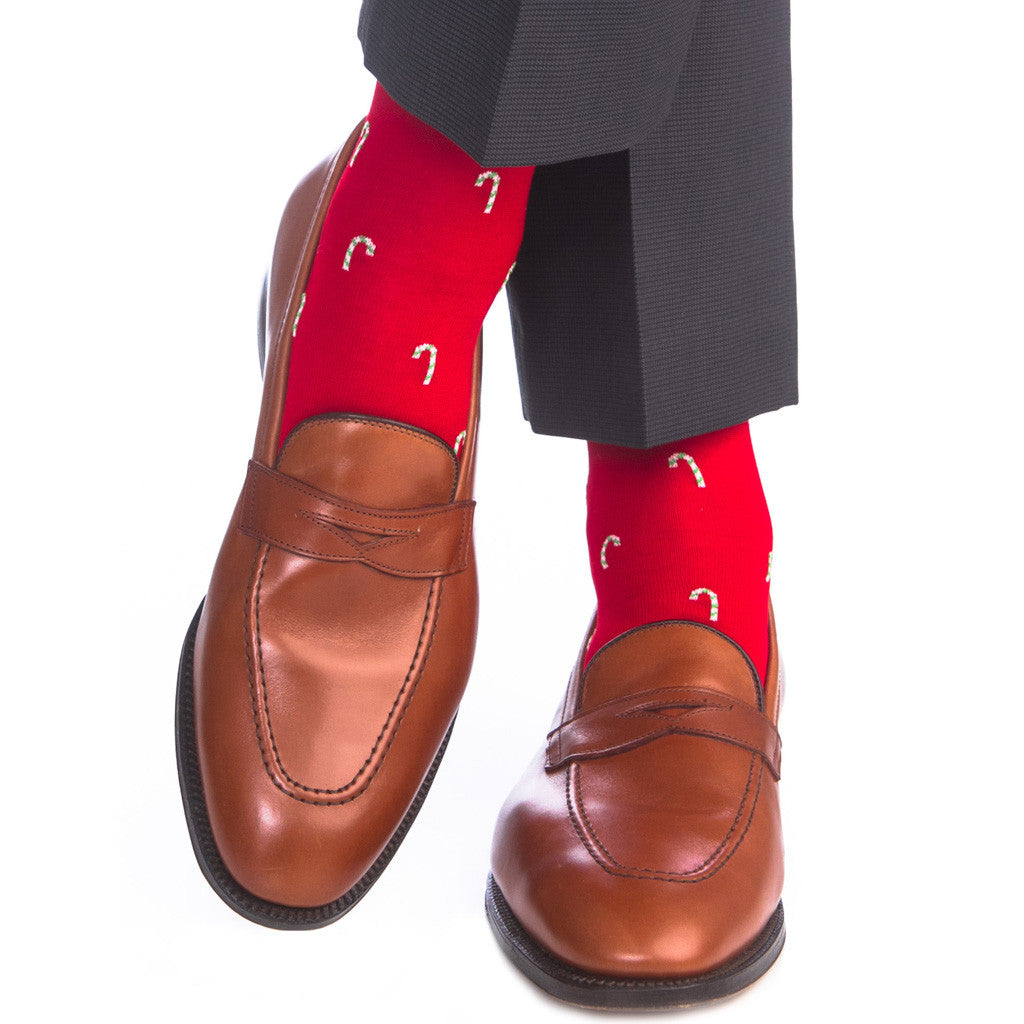 Red with Green and White Candy Cane Sock Linked Toe OTC - over-the-calf - dapper-classics