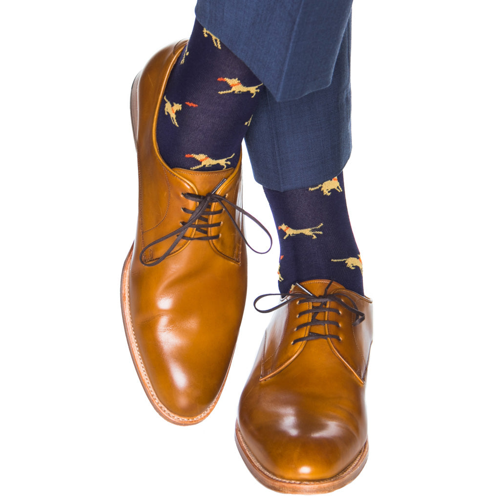 Navy with yellow dog catching orange frisbee cotton sock