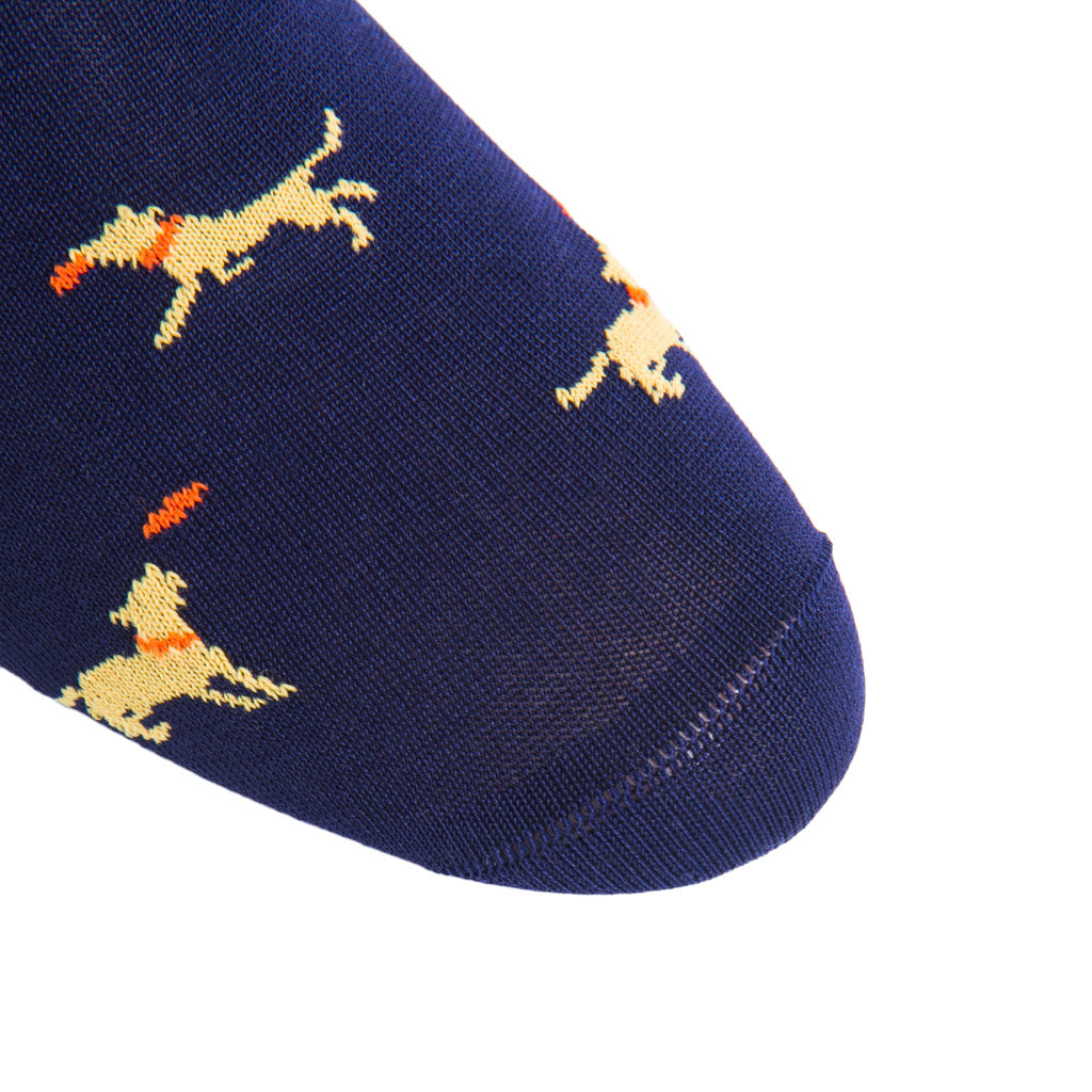 linked-toe Classic Navy with Yolk Dog Catching Tigerlily Orange Cotton Sock