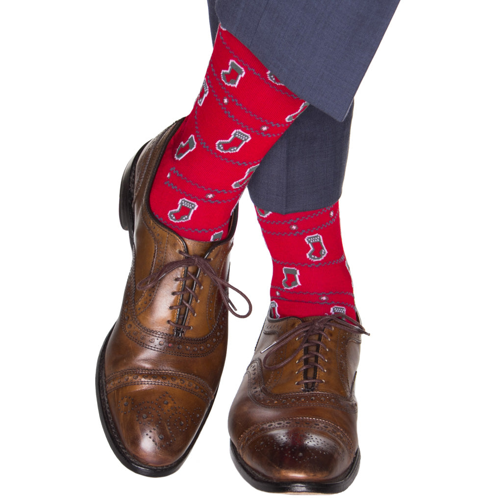 over-the calf red holiday stockings