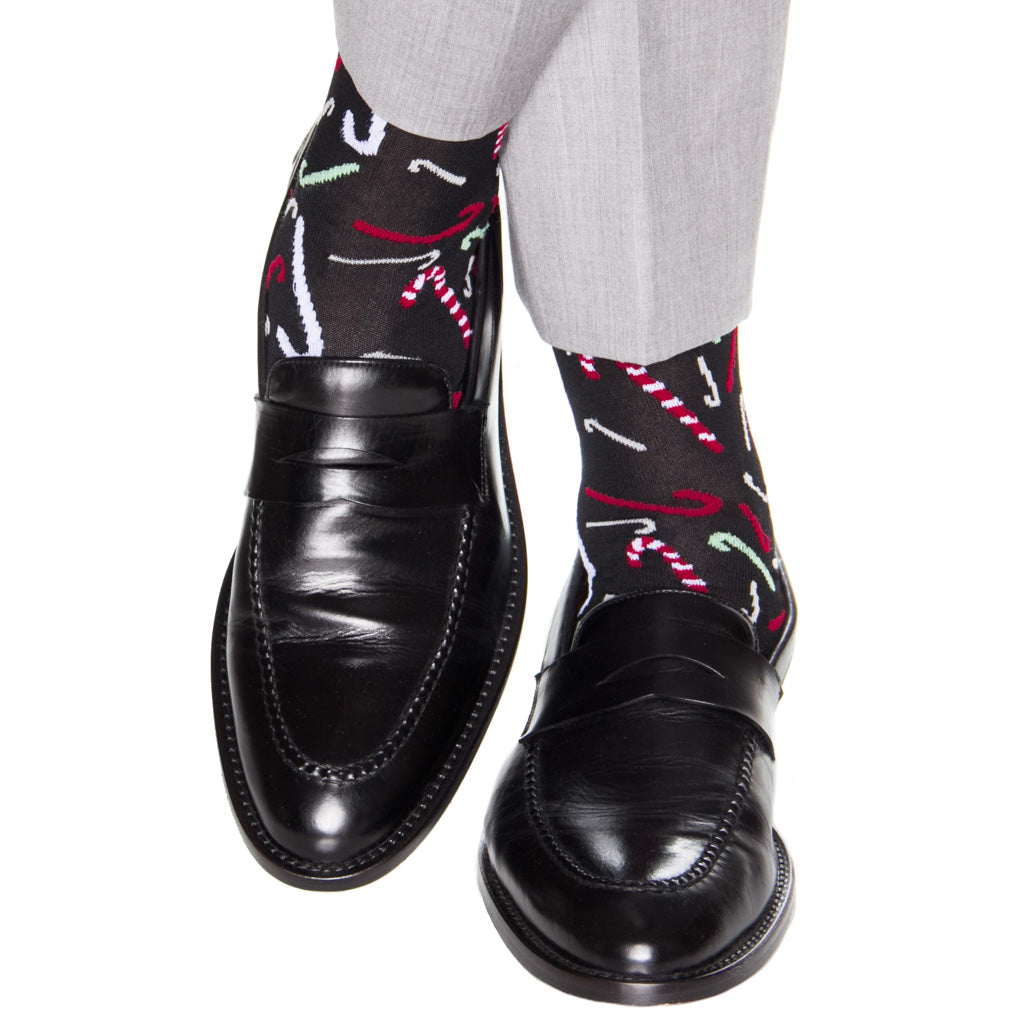 Black Tumbling candy cane cotton sock