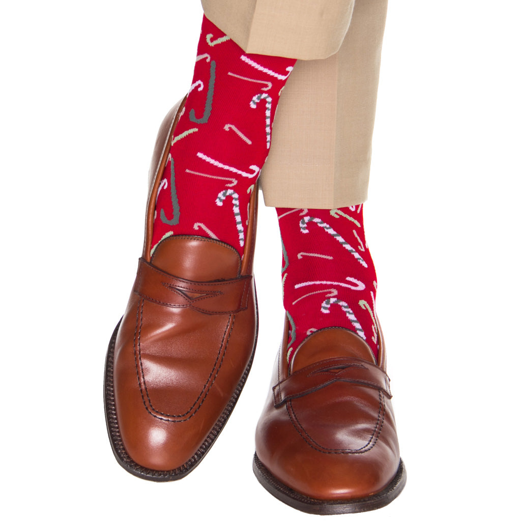 red tumblibng candy canes cotton sock