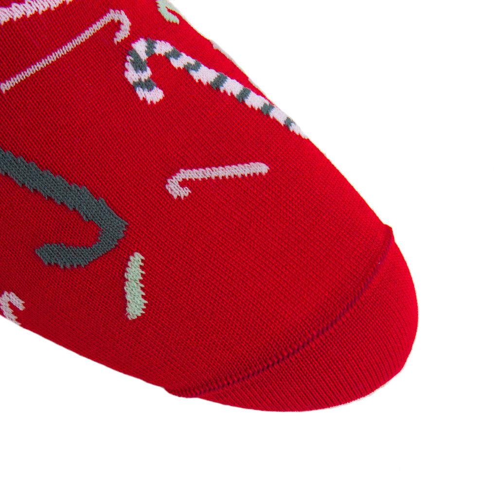linked-toe red tumblibng candy canes cotton sock