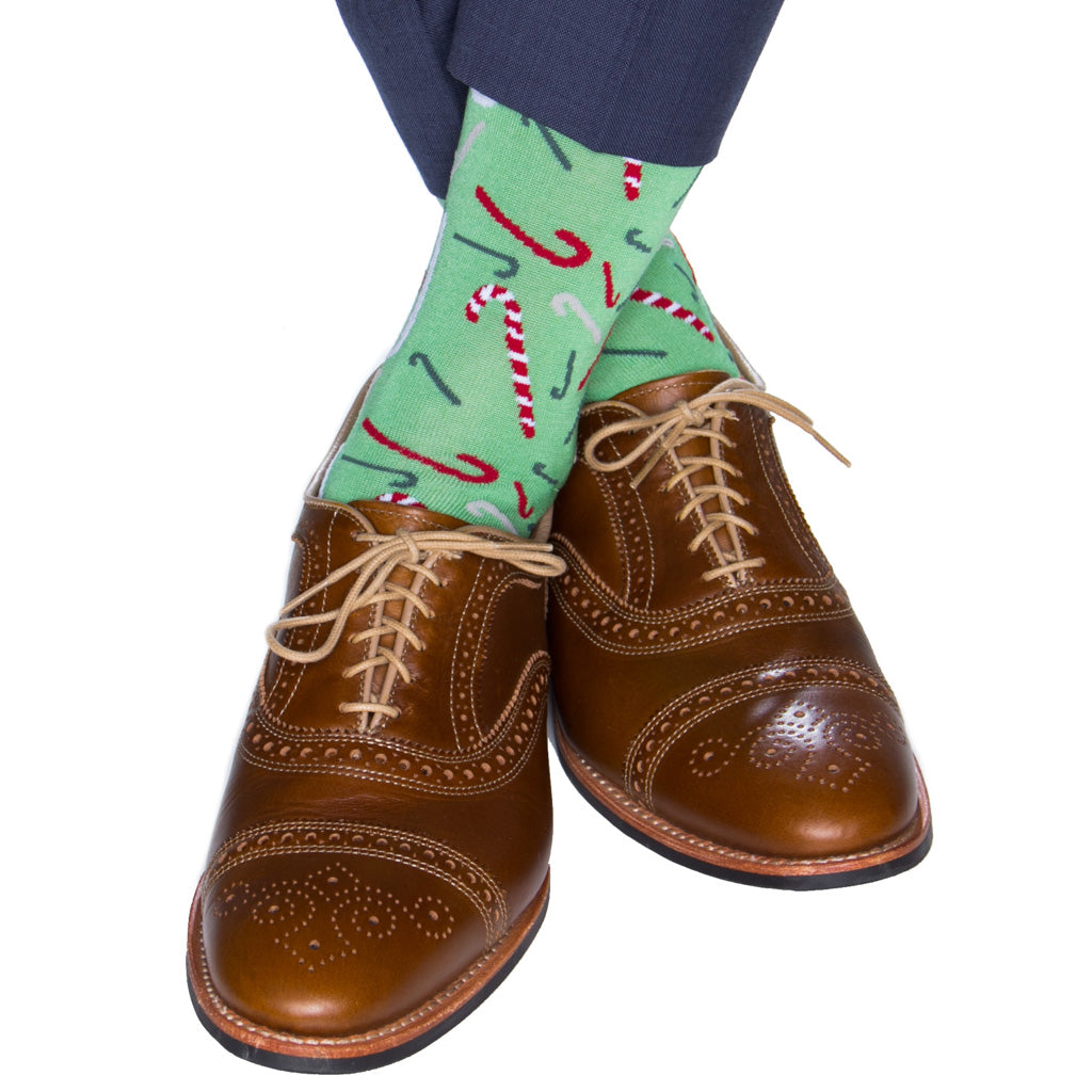 green tumbling candy cane cotton sock