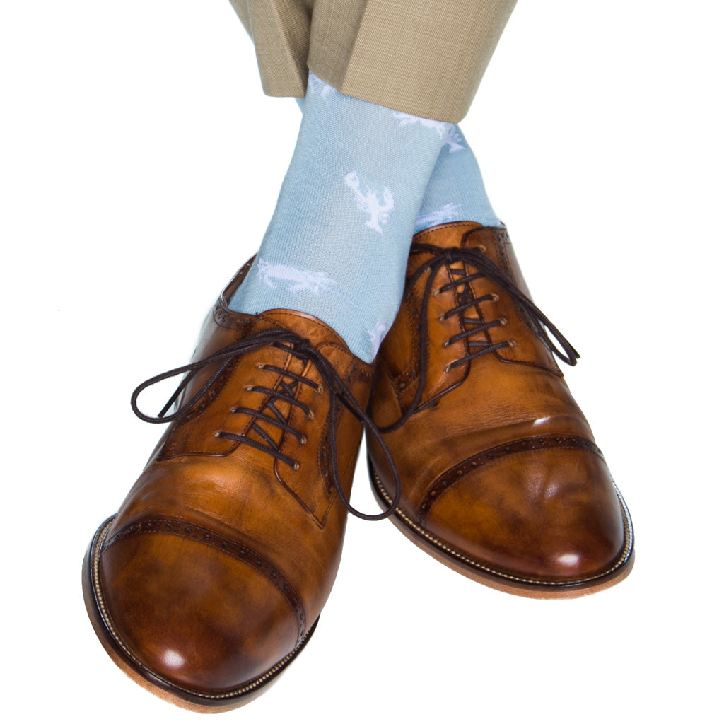 Sky Blue with White Lobster and Crab Cotton Sock