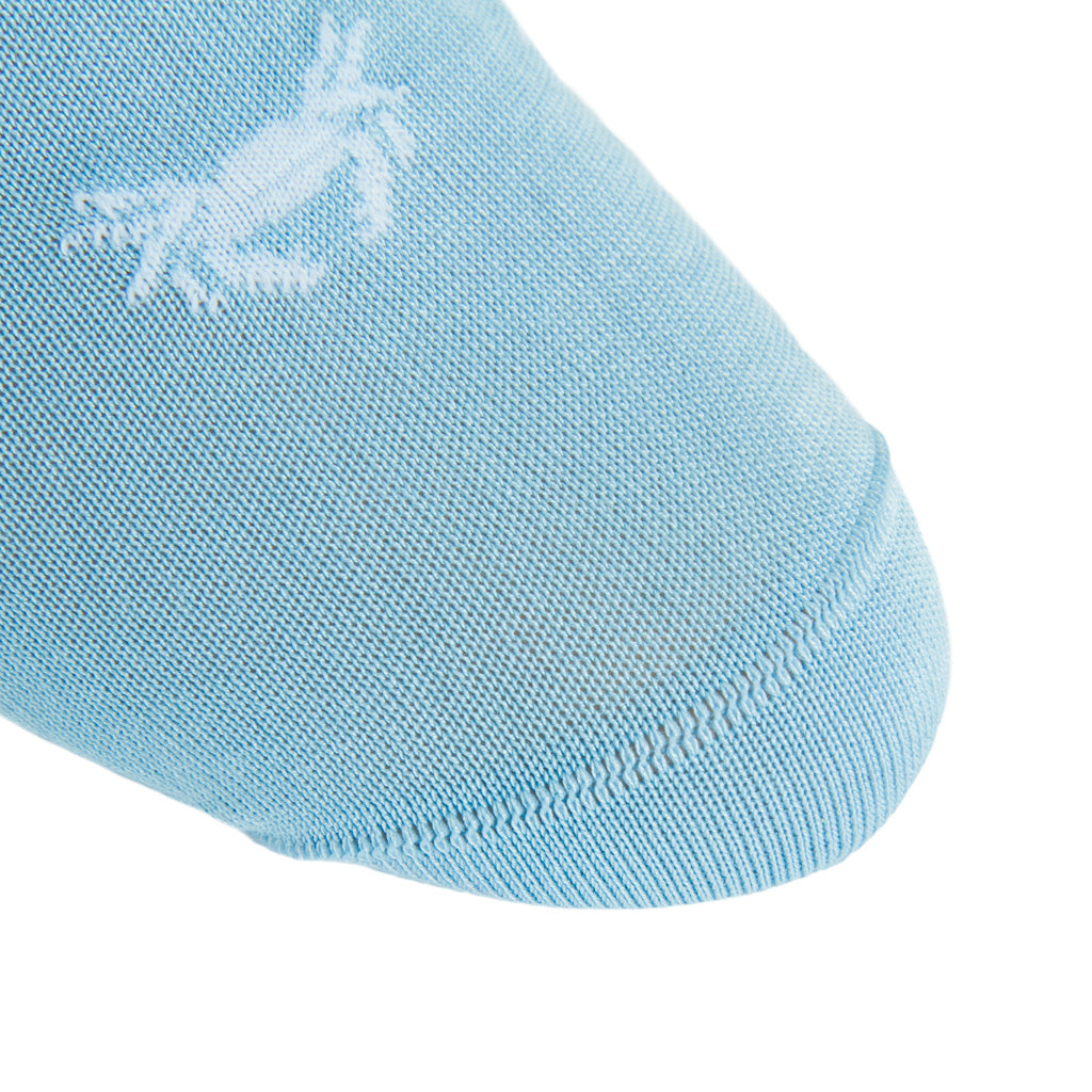 linked-toe sky blue with white lobster and crab cotton sock