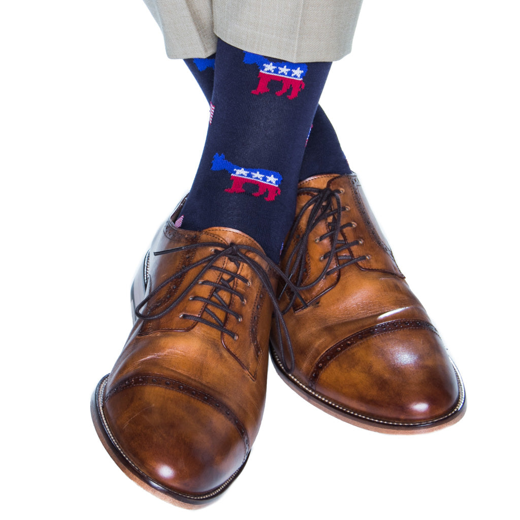 over-the-calf Patriotic Sock donkey and flag