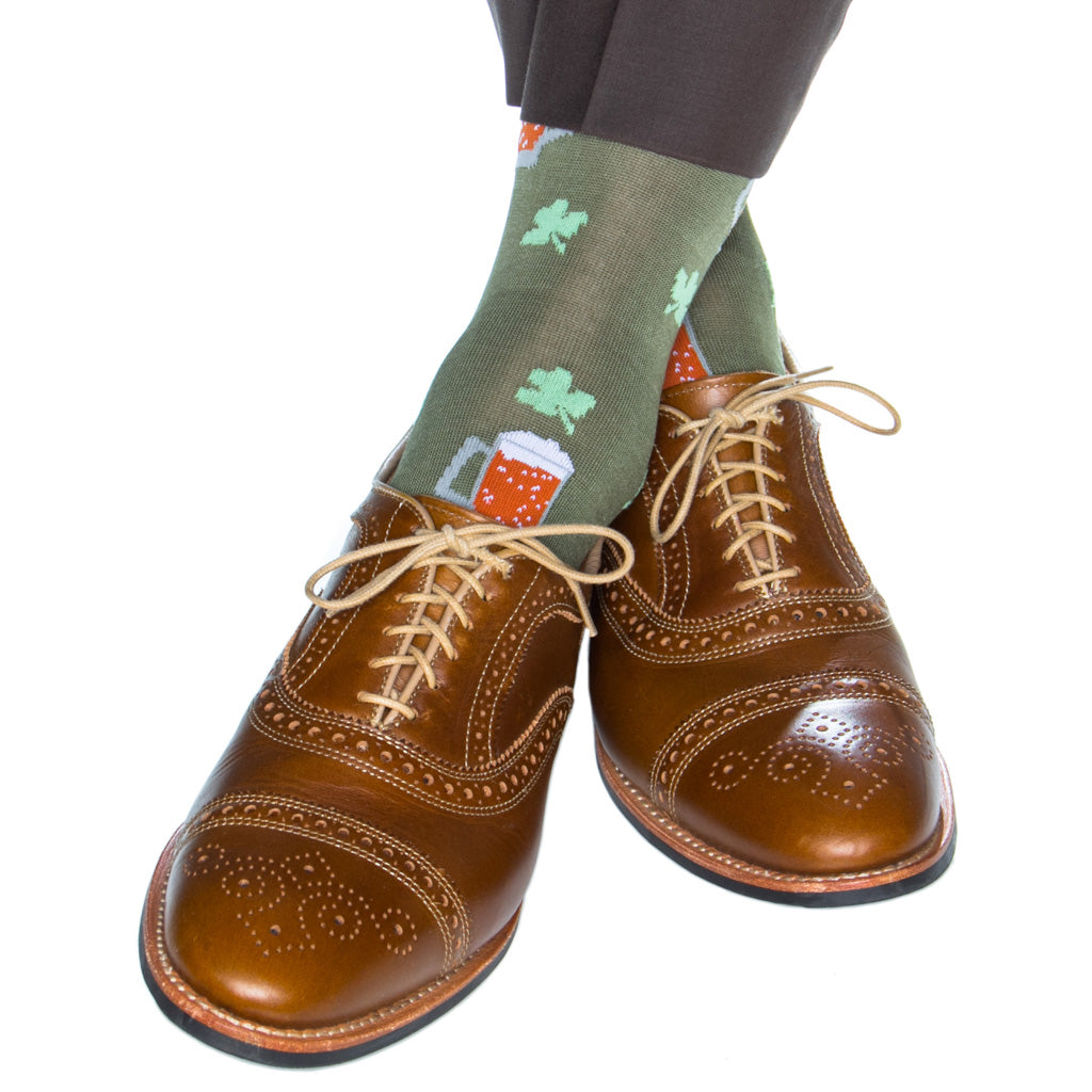 over-the-calf pine green sock with beer mug and clover