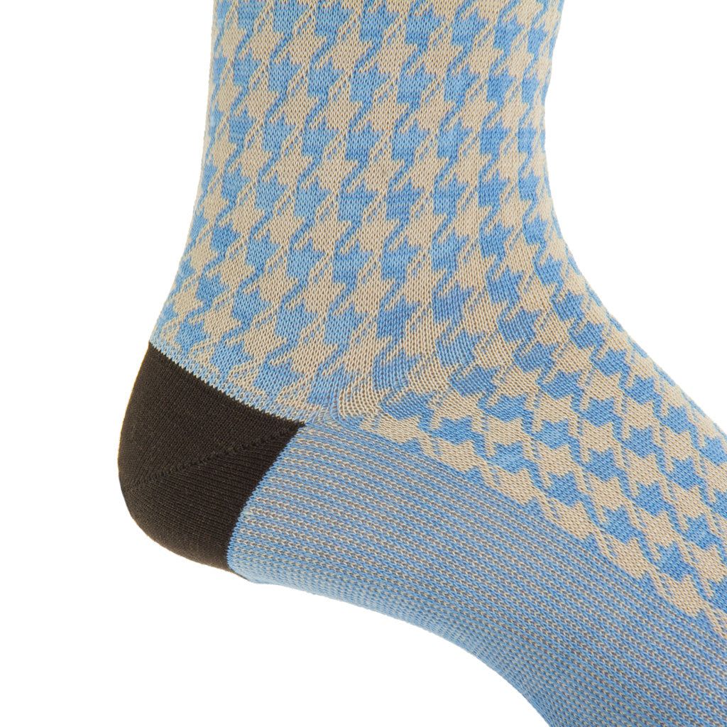 mdi-calf azure blue and tan lg houndstooth cotton sock
