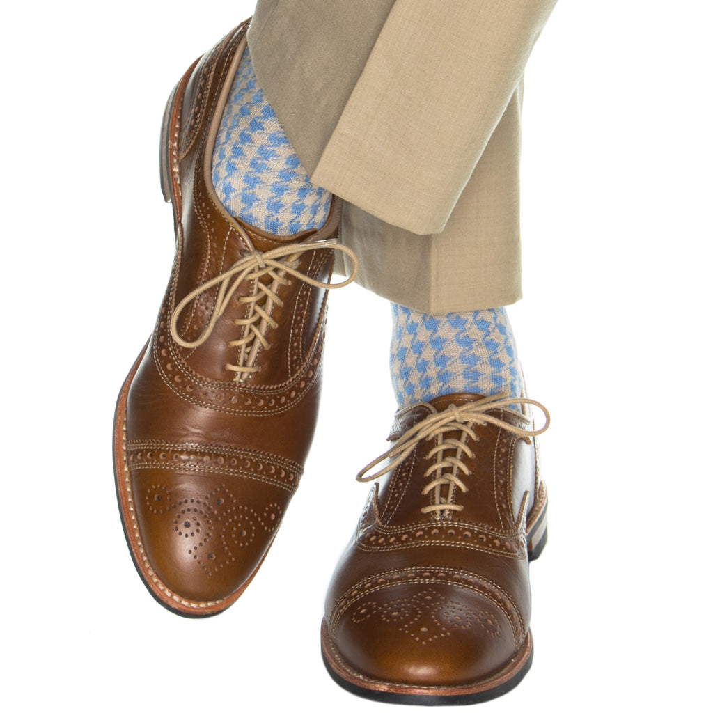 mid-calf lg houndstooth cotton sock azure blue with tan