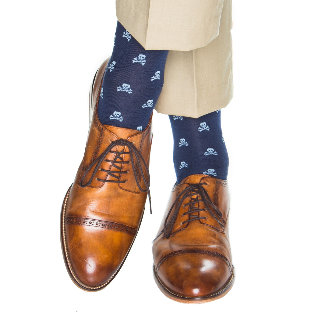 over-the-calf navy with sky blue skull