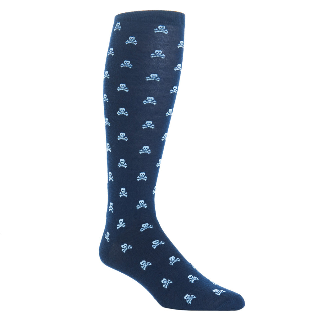 over-the-calf navy with sky blue skull wool