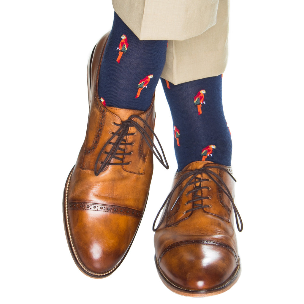 over-the-calf navy sock with parrots wool