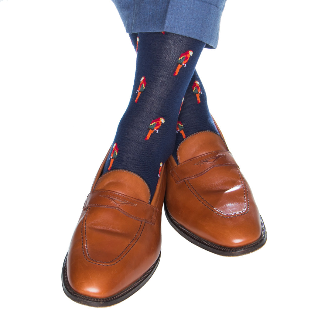 mid-calf navy sock with parrots wool