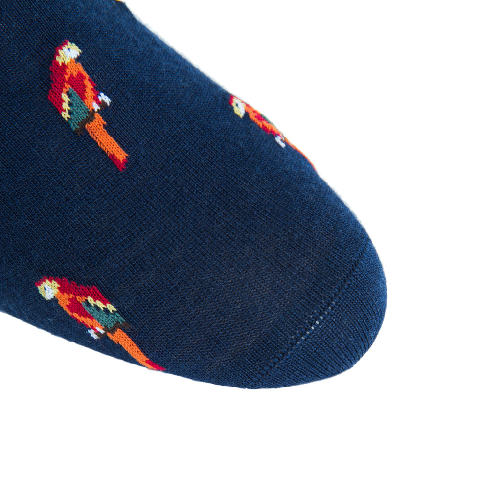 linked-toe navy with parrots wool