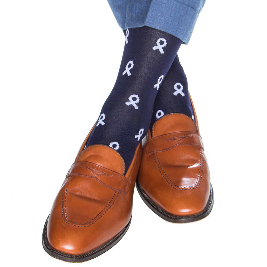 mid-calf navy with white ribbon cotton