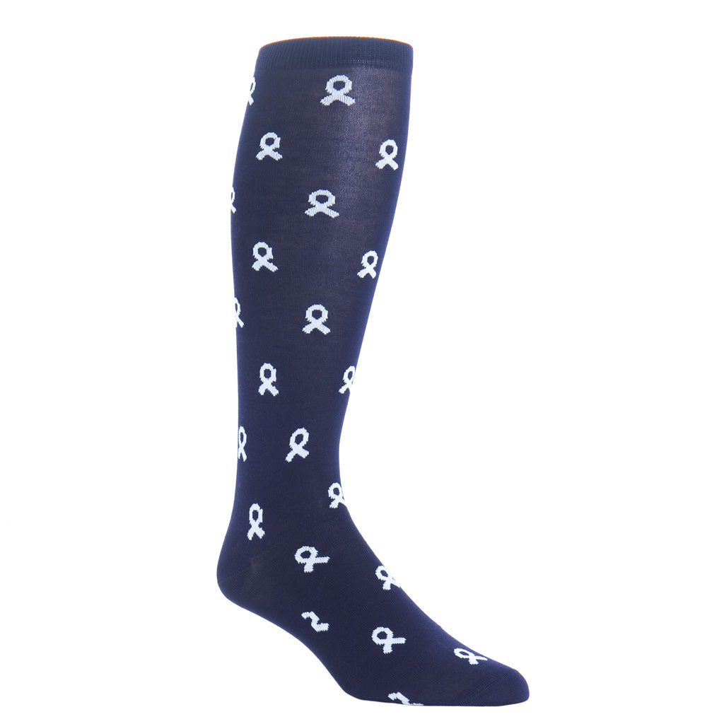 over-the-calf navy with white lung cancer sock cottton