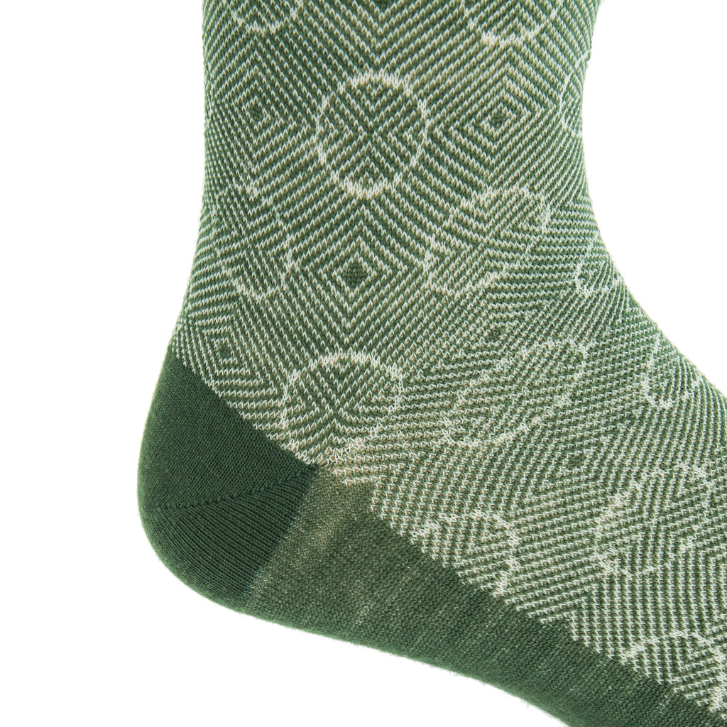 Mid-Calf-Pine-Green-cream optic circles wool