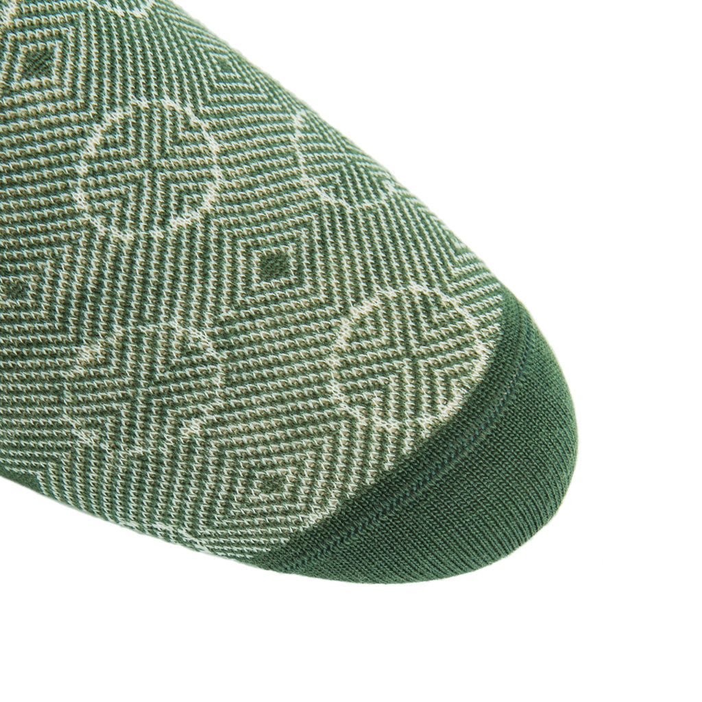 linked-toe pine green/cream optic circles wool