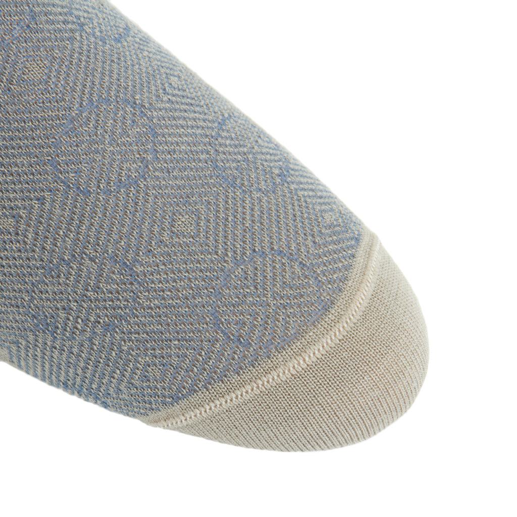 linked-toe taupe/bay blue optic circles wool
