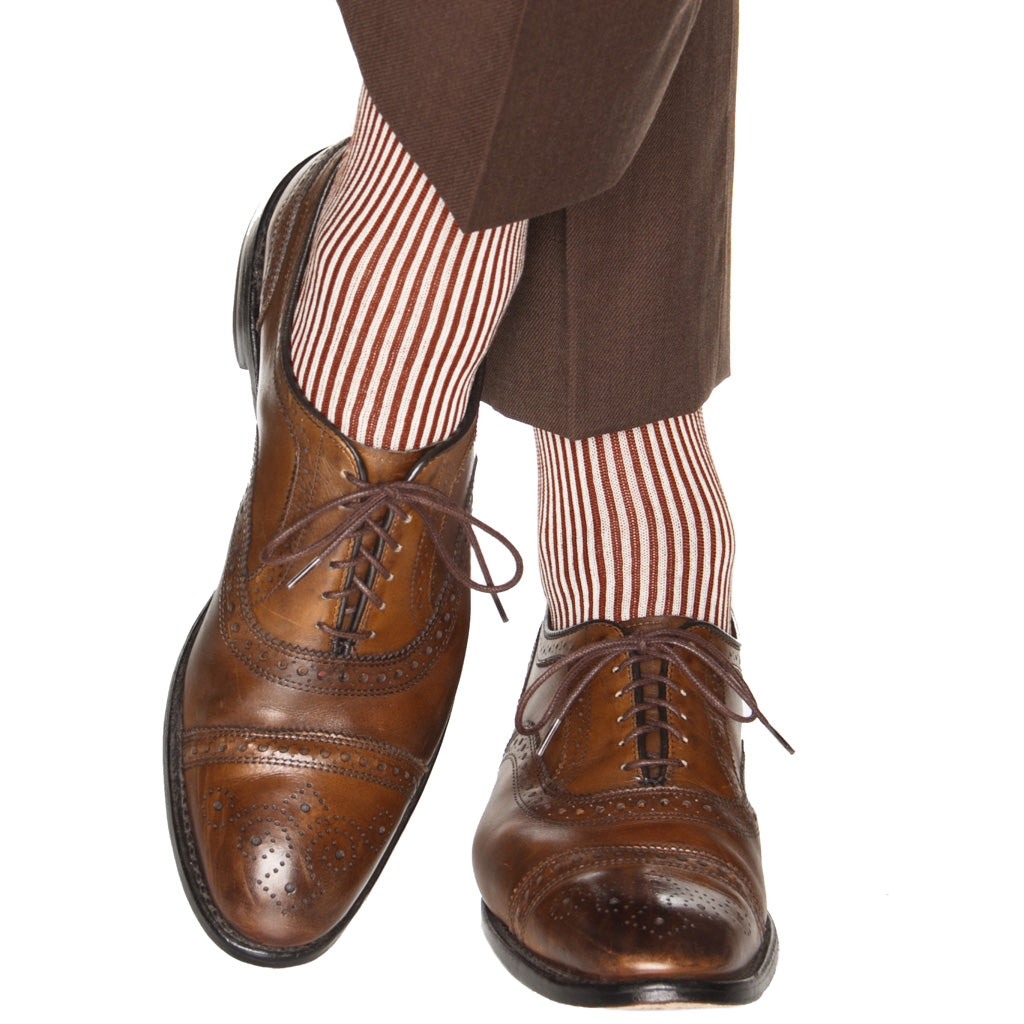 narrow vertical stripe sock cotton