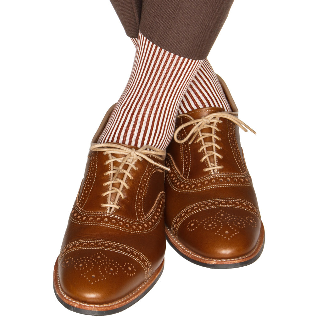 Whiskey/cream Vertical Stripe Cotton