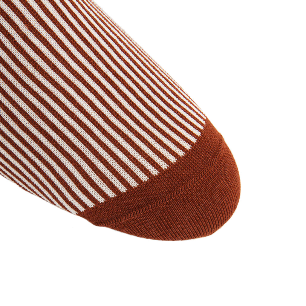 linked-toe whiskey/cream vertical stripe cotton