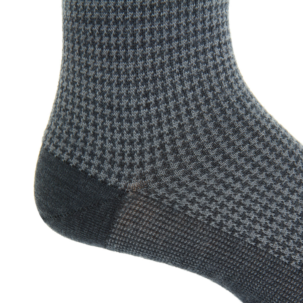 mid-calf charcoal grey/mercury grey houndstooth wool sock