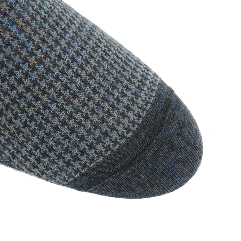 linked-toe charcoal grey/mercury grey houndstooth wool sock