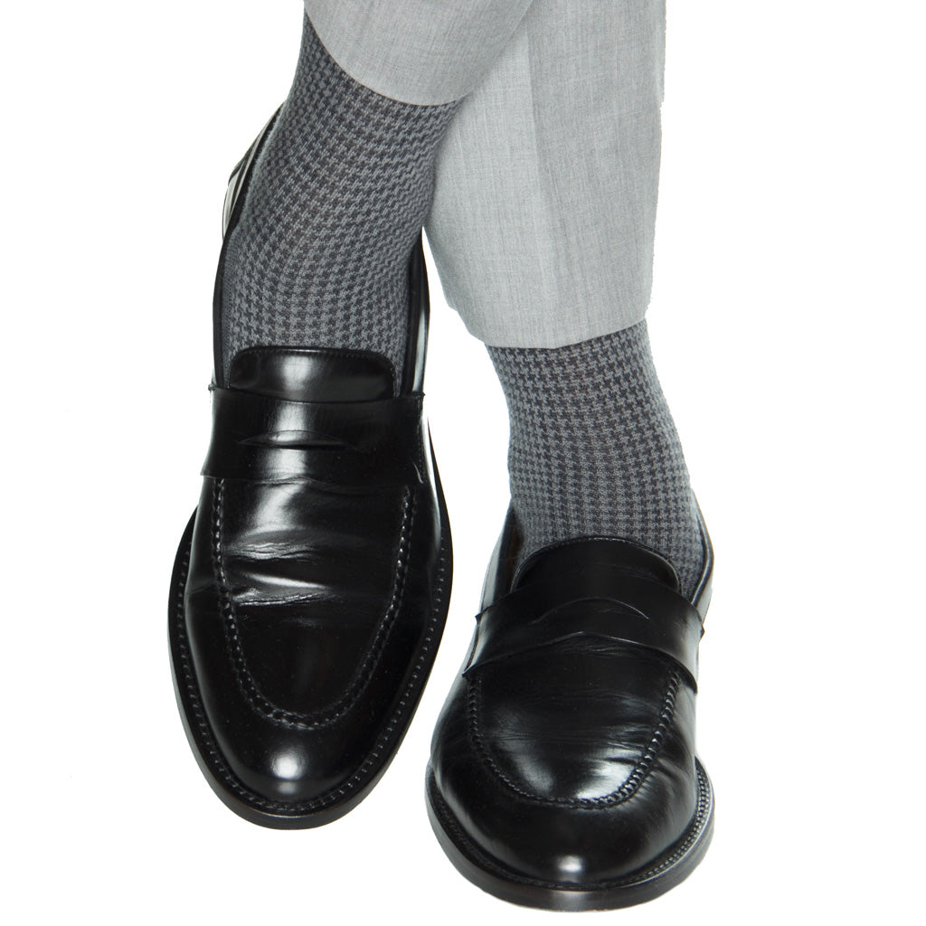 grey houndstooth wool sock