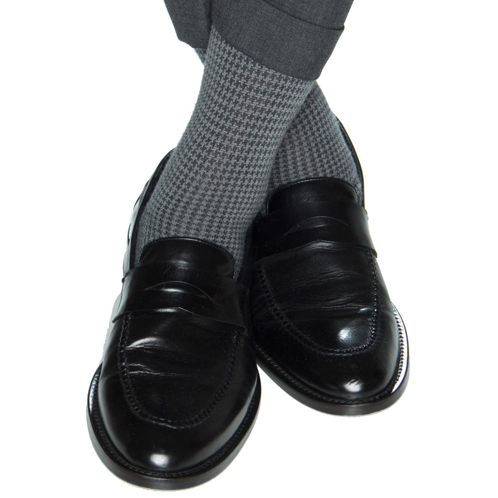 Houndstooth wool sock