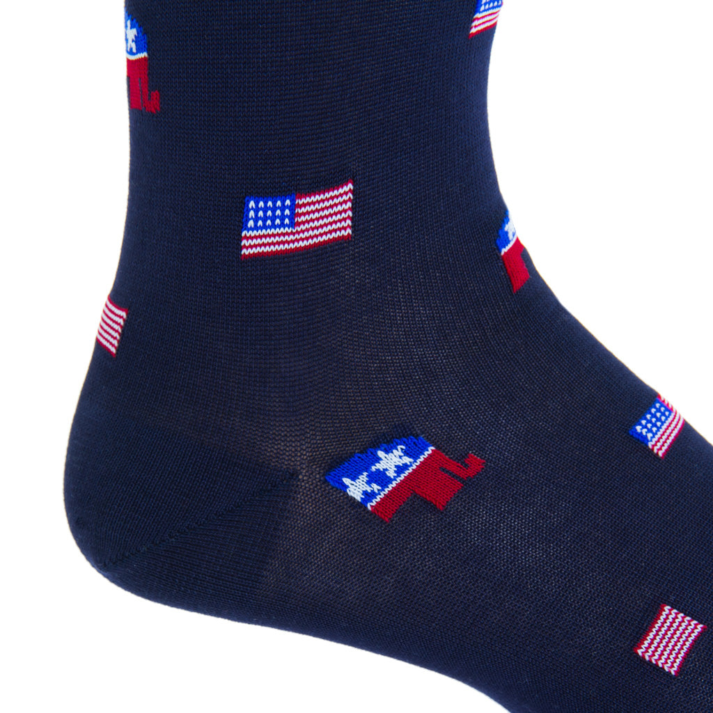 mid-calf classic navy/red american flag elephant cotton sock
