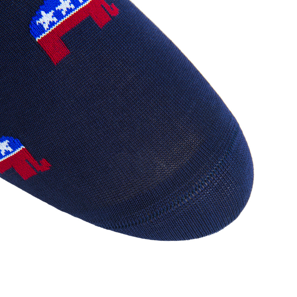 linked-toe classic navy/red american flag and elephant cotton sock